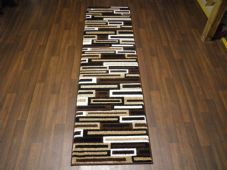 Runners 60x220cm Aprox 8ft Hand Carved Super Quality Brick Design Brown/Black